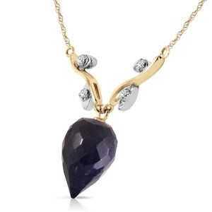 Galaxy Gold Products Jewelry - NECKLACE WITH DIAMONDS & BRIOLETTE SAPPHIRE